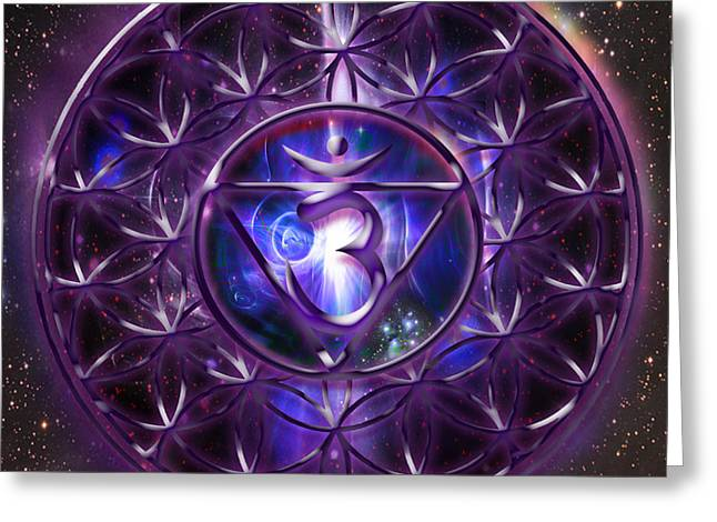 Sahasrara Greeting Cards - Crown Chakra Sahasrara  Greeting Card by Mynzah Osiris