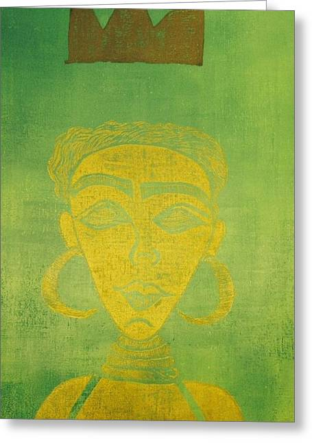 Green Abstract Reliefs Greeting Cards - Crown Me Queen Greeting Card by Tarynn Jackson