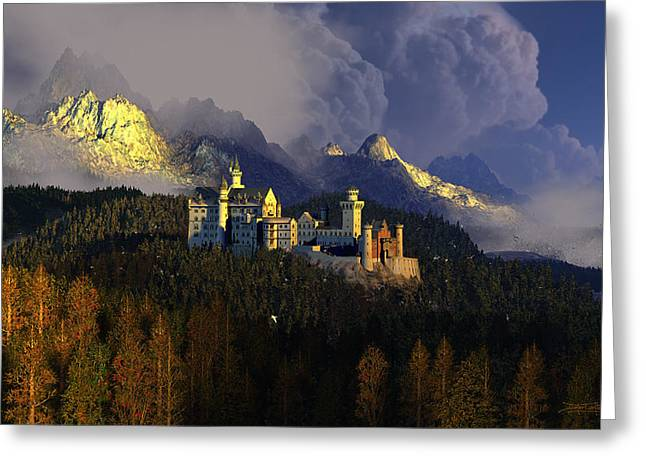 Castles Greeting Cards - Crown of Swans Greeting Card by Dieter Carlton