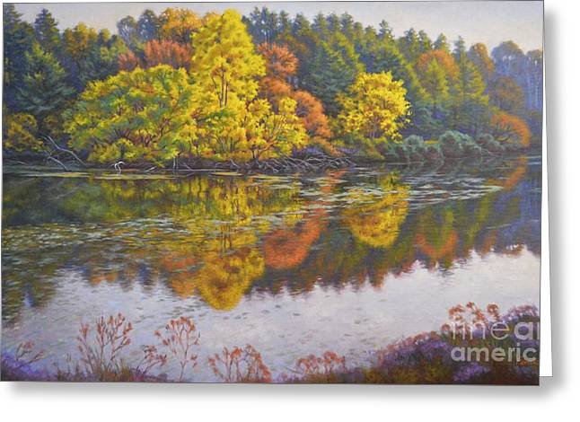 Autumn Landscape Paintings Greeting Cards - Crown of the Lake Greeting Card by Fiona Craig