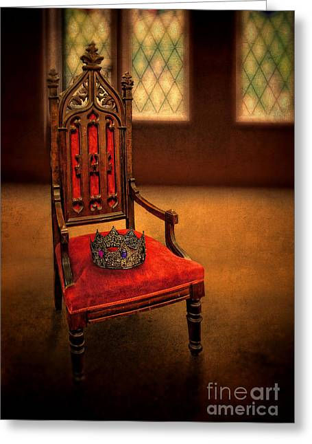 Priceless Greeting Cards - Crown on Chair Greeting Card by Jill Battaglia