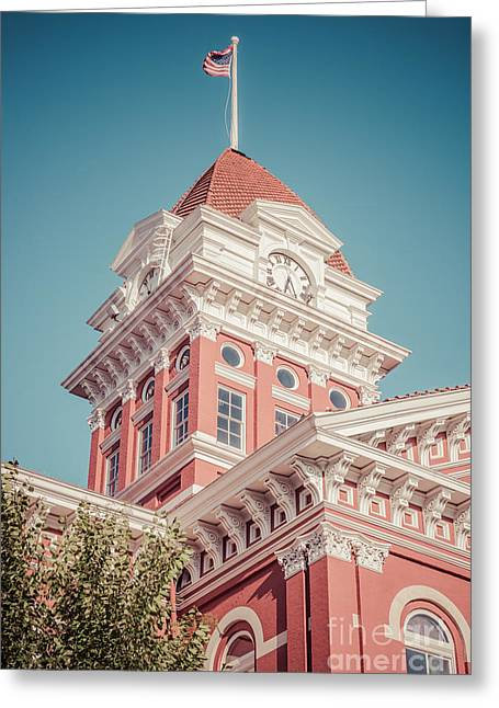 Lake County Greeting Cards - Crown Point Courthouse Retro Photo Greeting Card by Paul Velgos