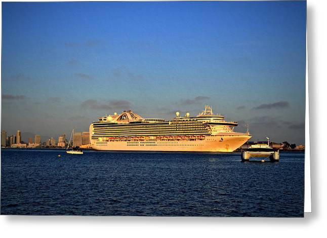 San Diego Harbor Cruise Greeting Cards - Crown Princess Greeting Card by See My  Photos