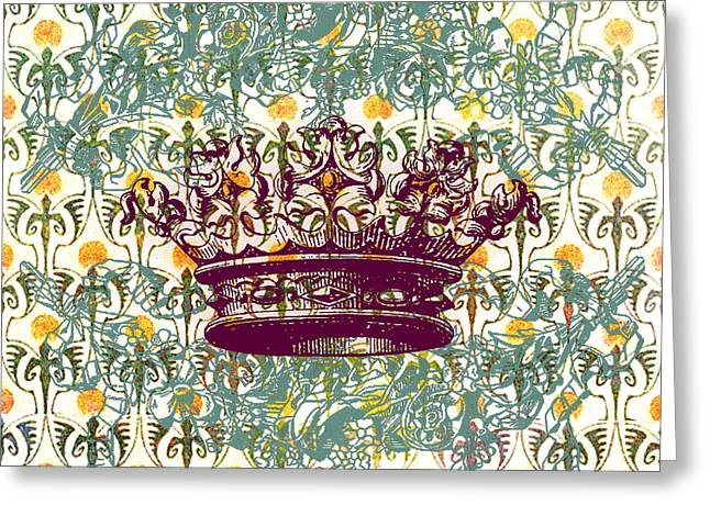 Reflection Harvest Mixed Media Greeting Cards - Crown Vintage with Medieval Background Greeting Card by Art World