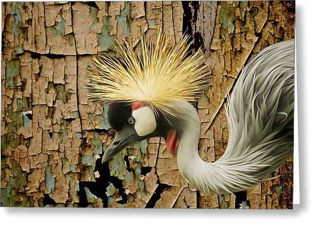 Large Birds Greeting Cards - Crowned Crane Consistency Greeting Card by Bill Tiepelman