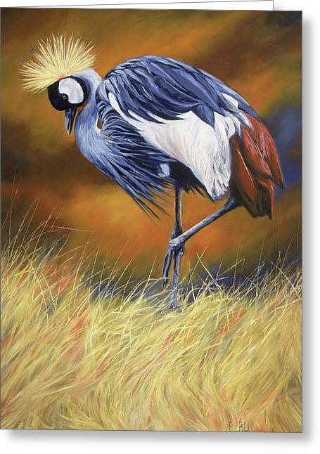 Cranes Greeting Cards - Crowned Greeting Card by Lucie Bilodeau