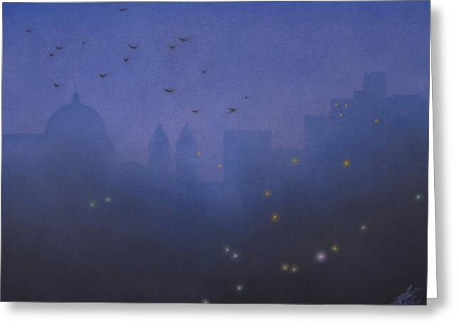 Streetlight Pastels Greeting Cards - Crows Above Basilica  Greeting Card by Robin Street-Morris