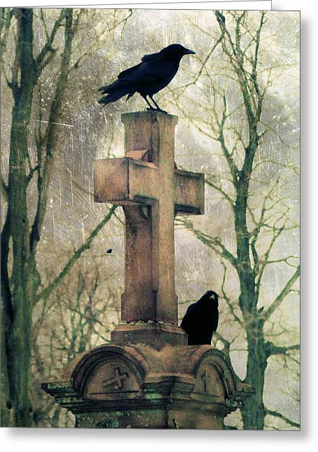 Moss-covered Greeting Cards - Urban Graveyard Crows Greeting Card by Gothicolors Donna Snyder