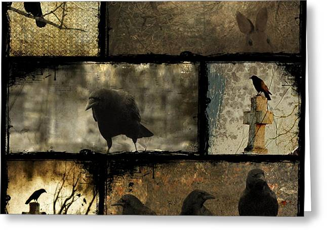 Gothic Crows Greeting Cards - Crows And One Rabbit Greeting Card by Gothicolors Donna Snyder