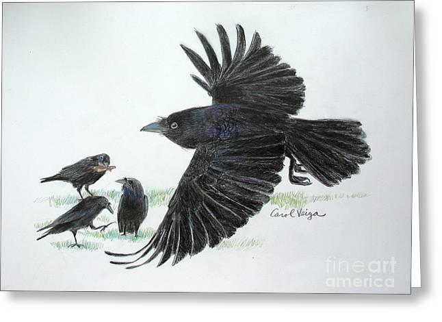 Crows Greeting Card by Carol Veiga