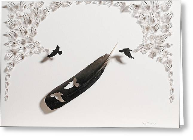 Handmade Reliefs Greeting Cards - Crows Caw Greeting Card by Chris Maynard