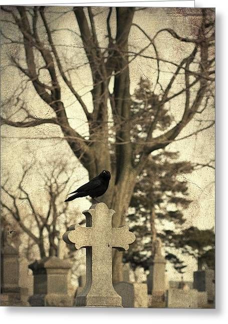 Gothic Cross Greeting Cards - Crows Cross Greeting Card by Gothicolors Donna Snyder