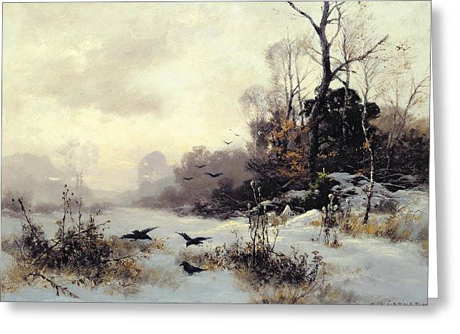 Snow Greeting Cards Greeting Cards - Crows in a Winter Landscape Greeting Card by Karl Kustner