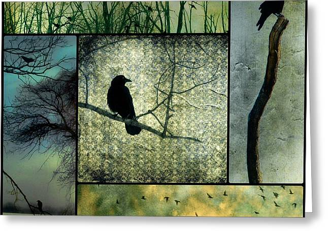 Crow Collage Greeting Cards - Crows In Nature Collage Greeting Card by Gothicolors Donna Snyder