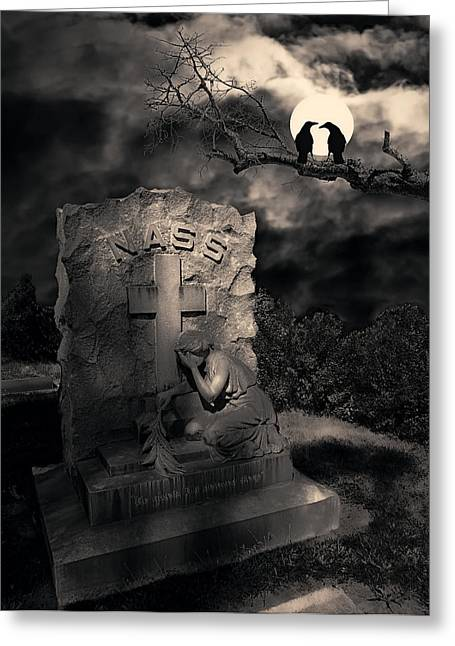 Fright Night Greeting Cards - CROWS in the GRAVEYARD Greeting Card by Daniel Hagerman