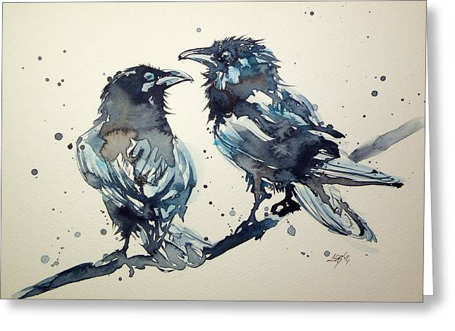 Two Crows Greeting Cards - Crows Greeting Card by Kovacs Anna Brigitta