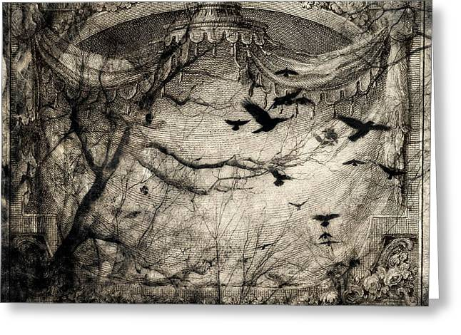 Crow Image Greeting Cards - Crows Matinee Greeting Card by Gothicolors Donna Snyder