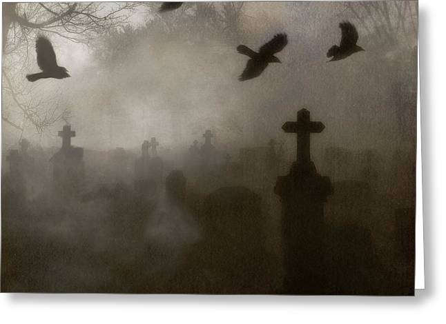 Thick Fog Greeting Cards - Crows On A Eerie Night Greeting Card by Gothicolors Donna Snyder