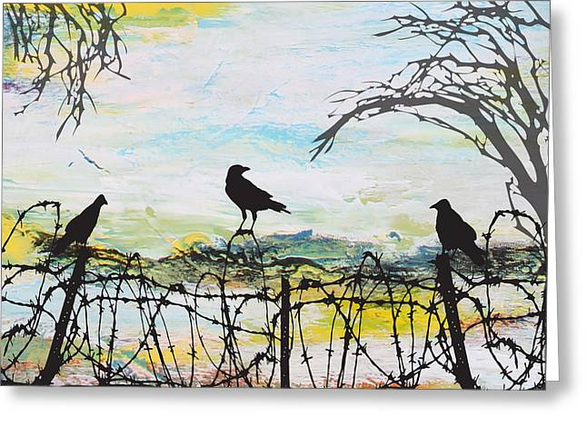 Bird On Tree Greeting Cards - Crows on Fence Line-JP2486 Greeting Card by Jean Plout