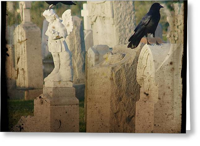 Crows On Tombstones Greeting Cards - Crows On Tombstones Greeting Card by Gothicolors Donna Snyder