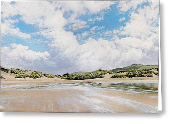 Croyde Greeting Cards - Croyde Beach and Sand Dunes Greeting Card by Mark Woollacott