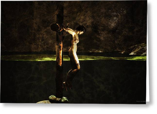 Crucifiction Greeting Cards - Crucifiction surreal Greeting Card by Ramon Martinez