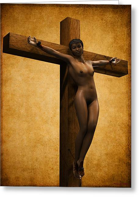 Martyrs Digital Art Greeting Cards - Crucified Black Woman Greeting Card by Ramon Martinez