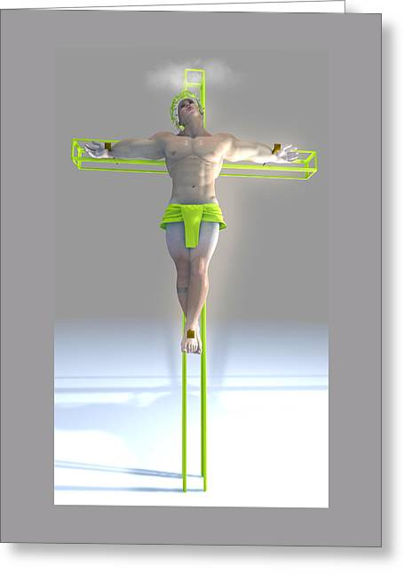 Freethinker Greeting Cards - Crucified color pistachio Greeting Card by Joaquin Abella