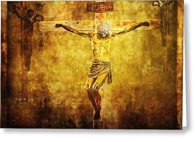Calvary Greeting Cards - Crucified Via Dolorosa 12 Greeting Card by Lianne Schneider