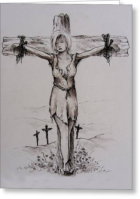 Crucifixtion Greeting Cards - Crucified with Christ Greeting Card by Rachel Christine Nowicki