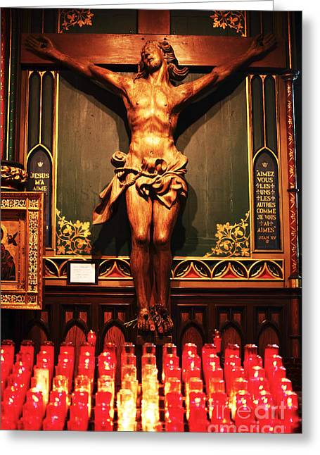Crucifix Greeting Cards - Crucifix at Notre Dame Greeting Card by John Rizzuto