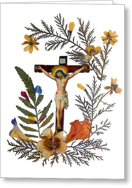 Crucifix Greeting Cards - Crucifix Dried Flowers Greeting Card by Munir Alawi