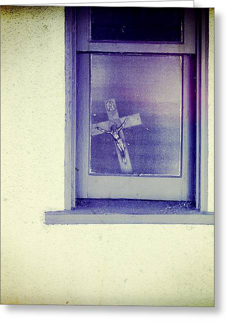 Stucco Greeting Cards - Crucifix in a Window Greeting Card by YoPedro