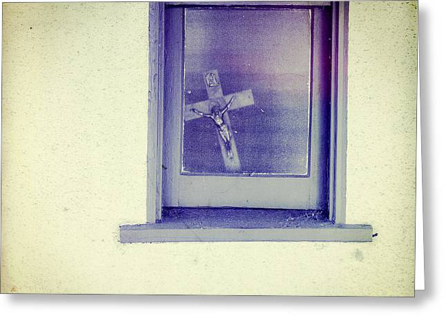 Crucifix In A Window Greeting Card by YoPedro
