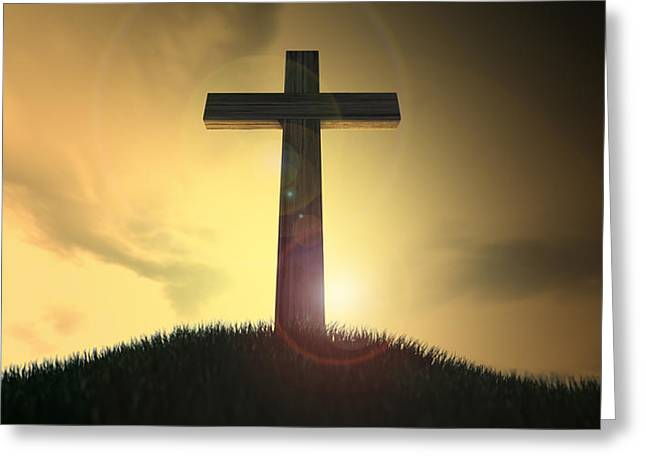 Crucifix On A Hill At Dawn Greeting Card by Allan Swart