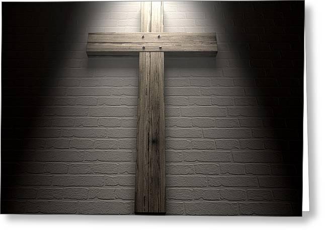 Crucifix On A Wall Under Spotlight Greeting Card by Allan Swart