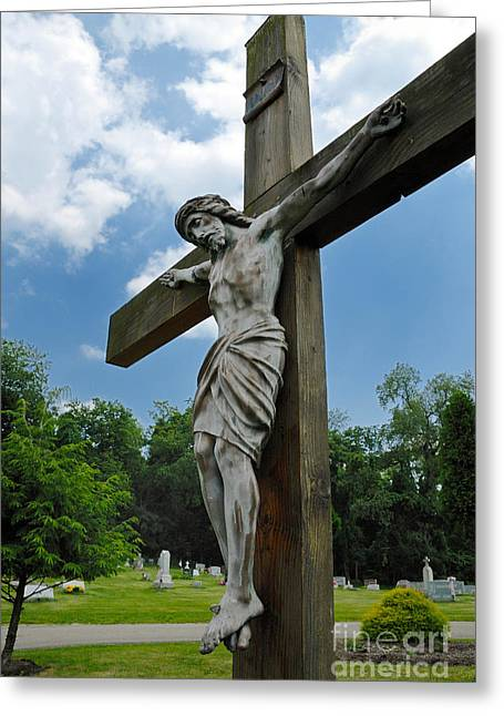 Sewickley . Greeting Cards - Crucifix Statue St James Cemetery Sewickley Heights Pennsylvania Greeting Card by Amy Cicconi