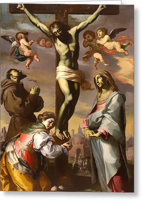 Calvary Greeting Cards - Crucifix with the Virgin and Saints Francis and Agatha Greeting Card by Bernardino Mei