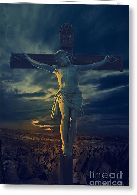 Spirituality Greeting Cards - Crucifixcion Greeting Card by Jelena Jovanovic