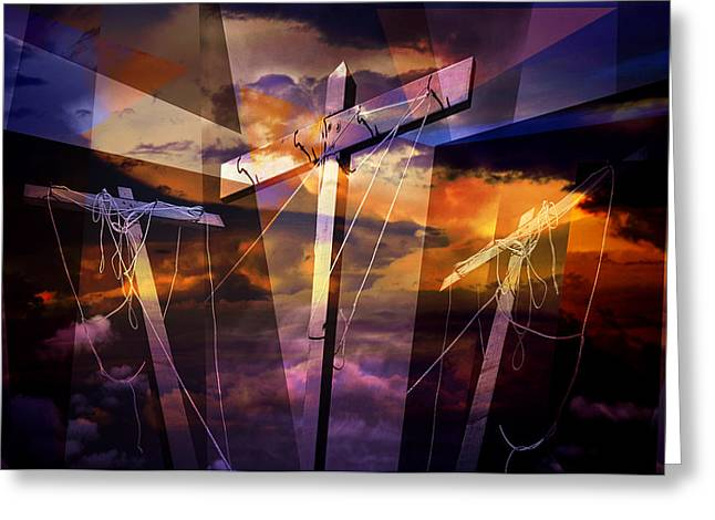 Crucifixtion Greeting Cards - Crucifixion Crosses Composition from Clotheslines Greeting Card by Randall Nyhof