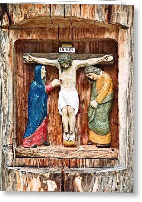 Figurs Greeting Cards - Crucifixion Greeting Card by Gabriele Pomykaj
