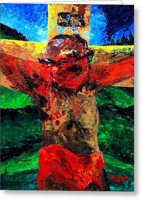 Crucifixion   It Is Finished Greeting Card by Patricia Brintle