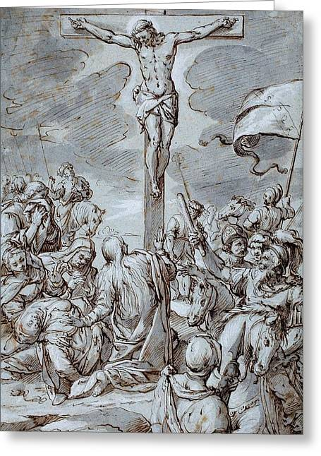 Son Of God Drawings Greeting Cards - Crucifixion Greeting Card by Johann or Hans von Aachen