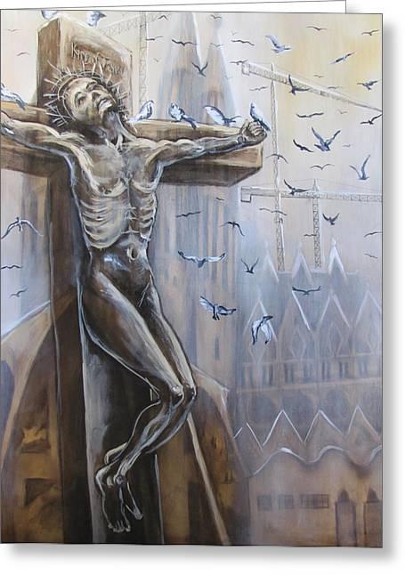 Jesus Pastels Greeting Cards - Crucifixion Greeting Card by Julie Sneeden