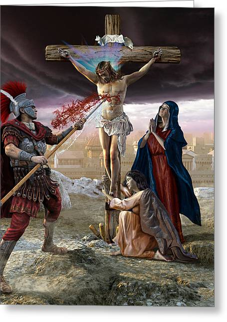 Mother Mary Digital Art Greeting Cards - Crucifixion-Divine Mercy Greeting Card by Kurt Miller