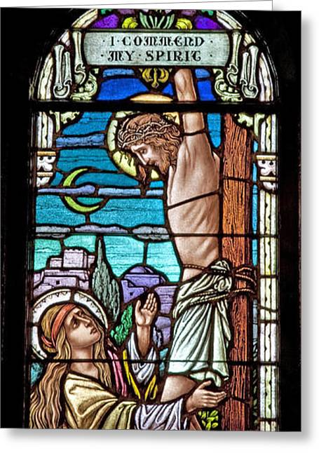 Stained Glass Art Greeting Cards - Crucifixion of Christ Greeting Card by Mountain Dreams
