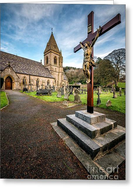 Gravestones Greeting Cards - Crucifixion of Jesus Greeting Card by Adrian Evans