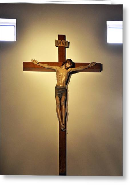 White Cloth Greeting Cards - Crucifixion of Jesus Christ Greeting Card by Sally Rockefeller