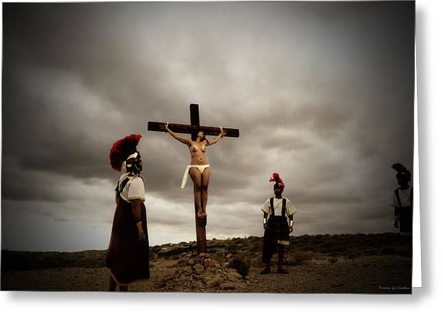 Kreuz Greeting Cards - Crucifixion scene of Roman Movie Greeting Card by Ramon Martinez