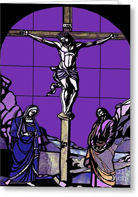 Religious Art Digital Art Greeting Cards - Crucifixion Stained Glass Greeting Card by Methune Hively